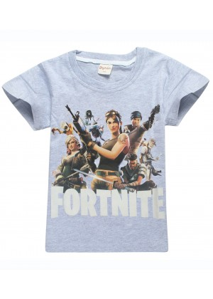 Grey FORTNITE Game Boys Girls T-Shirt