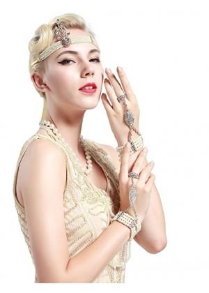 Silver 1920s Headband Vintage Bridal Great Gatsby Flapper Headpiece gangster ladies