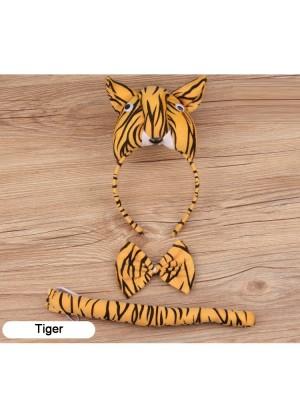 Tiger Headband Bow Tail Set Kids Animal Farm Zoo Party Performance Headpiece Fancy Dress Costume Kit Accessory