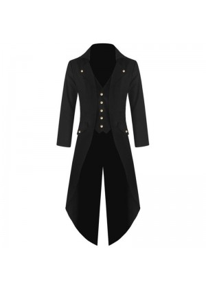 Black Mens Steampunk Vintage Tailcoat Jacket Gothic Victorian Frock Coat Business Suit Ringmaster