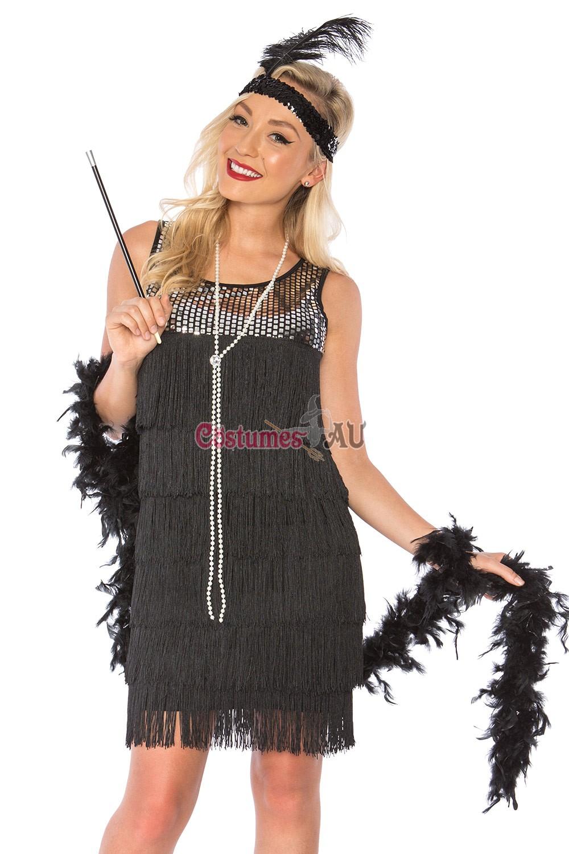 Fashion Flapper 1920s 30s Black Charleston Gatsby Womens Costume Plus Size