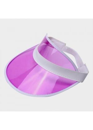 Pink Unisex Sun Visor Cap Golf Fancy Dress Colour Stretch Poker 80's Rave Headband