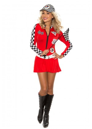 Sports Costumes - Red Sexy Miss Indy Super Car Racer Racing Sport Driver Super Car Grid Girl Fancy Costume Outfit