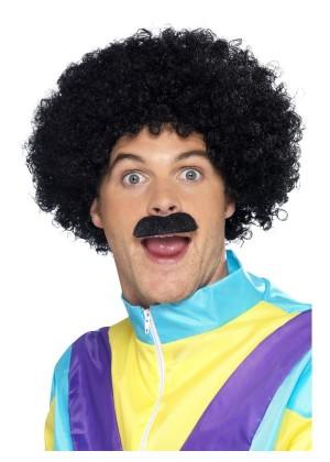 80s 1980s 80's Scouser Liverpool Set Wig Moustache 70s Tash Funny Costume Accessory