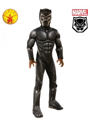 Licensed Kids Deluxe Black Panther Civil War Deluxe Child Costume Mask Halloween Party Fancy Dress Boys