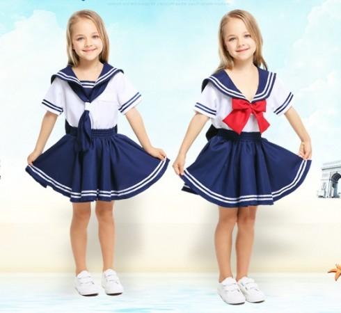 Sea Sweetie Girls Navy Sailor Uniform Rockabilly Costume Pin Up Fancy Dress & Hat
