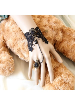 Vintage Lace Vine Chain Cuff Bracelet Ring Set Halloween Jewelry