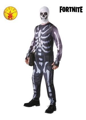 Mens Adult Fortnite Skull Trooper Skeleton Computer Gaming Fancy Dress Costume