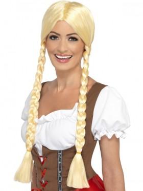 Ladies Bavarian Beauty Long Plaited Wig Adults Oktoberfest German Beer Maid Schoolgirl Fancy Dress Costumes Accessories