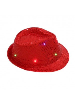 1bc267efe3f Kids LED Light Up Flashing Sequin Costume Party Night Cap Disco Hip-hop Trilby  Fedora ...
