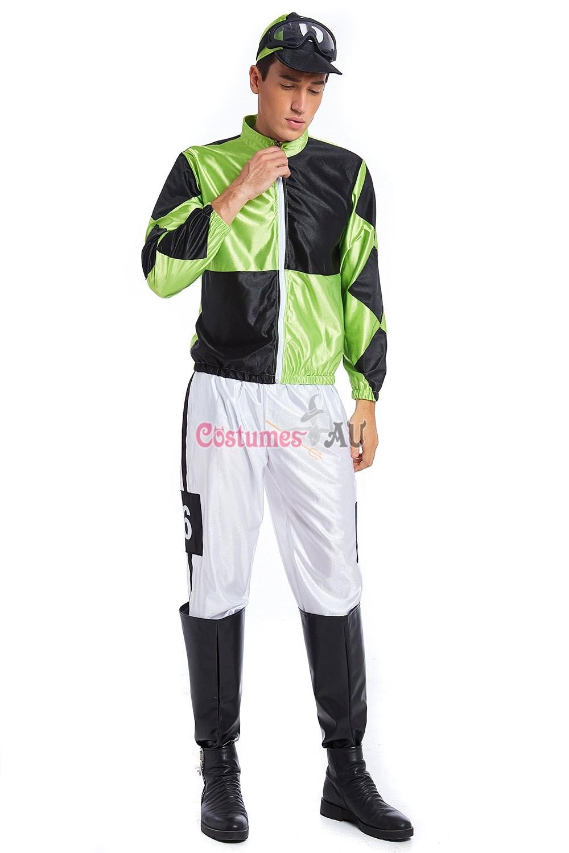 Green Black Jockey Horse Racing Rider Mens Uniform Fancy Dress Costume Outfit Hat  sc 1 st  Costumes AU & Green Black Jockey Horse Racing Rider Mens Uniform Fancy Dress ...