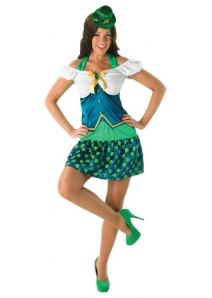 Lady Leprechaun Sexy Irish St Patricks Day Fancy Dress Green Costume 1