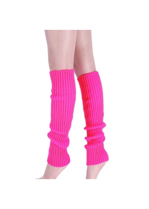hot pink Licensed Womens Pair of Party Legwarmers Knitted Dance 80s Costume Leg Warmers
