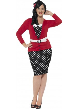 Curves 50's Pin Up Costume Dress Up Rock And Roll Polka Dot Vintage Retro 1950s Plus Size