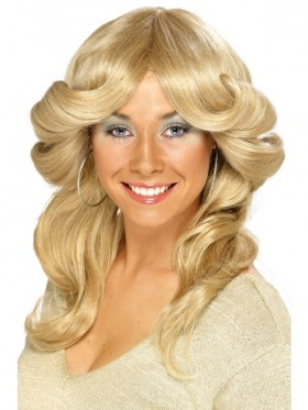 FARRAH FAWCETT 1970S 70s LONG BLONDE WAVY FLICK COSTUME WIG Discorama Mama long wig disco, Charlies Angels Hippie Wigs Accessories