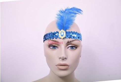 Lake Blue 1920s Headband Feather Vintage Bridal Great Gatsby Flapper Headpiece gangster ladies