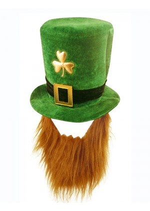 PLUSH LEPRECHAUN HAT WITH BEARD ST PATRICKS DAY NOVELTY ADULT irish green COSTUME ACCESSORY
