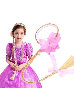 Girls Disney Princess Wig Headband Hair Plait with Pink Flower for Kids Costume Accessary