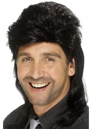 Black Mullet Wig Fancy Dress Costume Accessory 70s 80s 80's Adult Mens Punk Fancy Dress Up Party