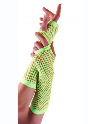 Green Fishnet Gloves Fingerless Elbow Length 70s 80s Women's Neon Party Dance