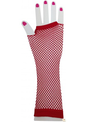 Red Fishnet Gloves Fingerless Elbow Length 70s 80s Women's Neon Party Dance