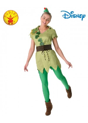 Ladies Licensed Disney PETER PAN DELUXE FEMALE COSTUME Green Story book week Fancy Dress