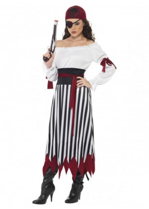 Pirate Costumes - Smiffys Licensed Ladies Caribbean Pirate Velvet Costume Wehch Swashbuckler Fancy Dress Outfit