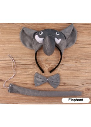 Elephant Headband Bow Tail Set Kids Animal Farm Zoo Party Performance Headpiece Fancy Dress Costume Kit Accessory