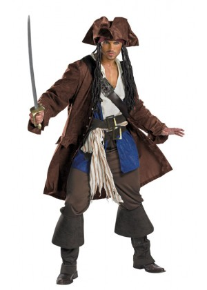 Pirate Costumes - Pirates Of The Caribbean Captain Jack Sparrow PRESTIGE Adult Costume