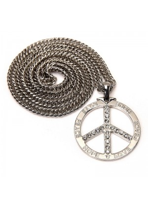 Silver Deluxe Metal Peace Sign Symbol Pendent 70s 80s Hippie Boho Jewelry Costume Necklace Accessary