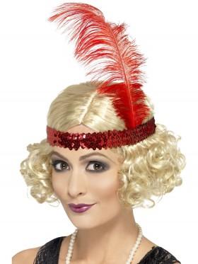 Blonde Charleston Wig & Red Feather Headband Flapper 20s Gatsby Fancy Dress Ladies Costume Accessories