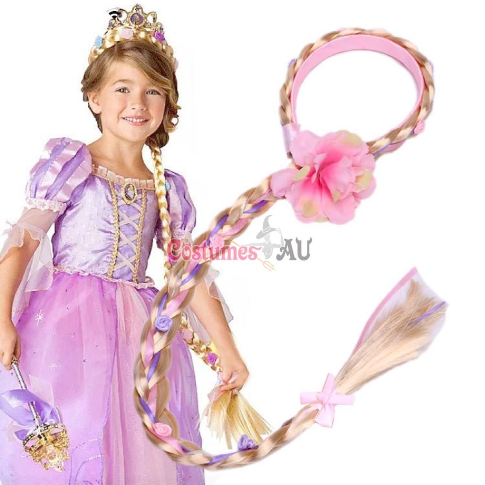 Rapunzel Girls Disney Princess Wig Headband Hair Plait With Pink