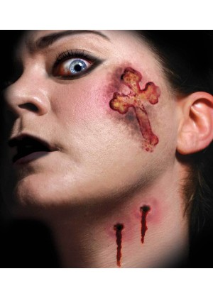 Halloween Trauma Vampire Kiss Scary Face Temporary Tattoo