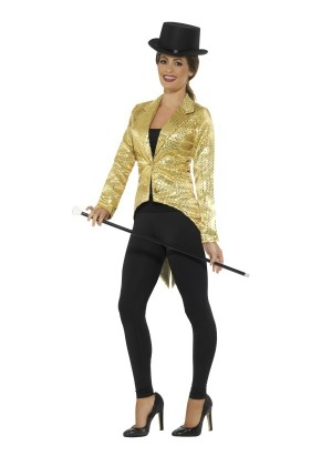 Ladies Gold Fancy Dress Tailcoat Sequin Jacket Cabaret Cabaret Outfit Showtime Waistcoat