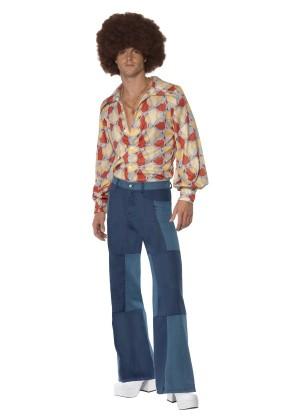 Mens 70s 1970s Flares Patchwork Denim Trousers Fancy Dress Disco Dancer Pants Costume
