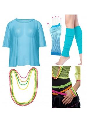 Blue String Vest Mash Top Net Neon Punk Rocker Fishnet Rockstar Dance 80s 1980s Costume  Beaded Necklace Bracelet legwarmers gloves