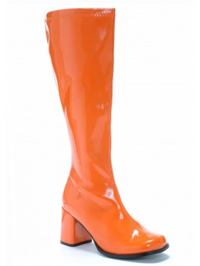 Ladies Go Go White Knee High Wid fit Adult Women Boots Shoes Orange