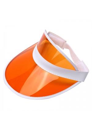 Orange Unisex Sun Visor Cap Golf Fancy Dress Colour Stretch Poker 80's Rave Headband