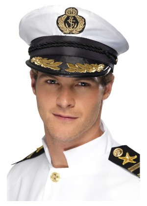 White Sea Sailor Boating Yacht Nautica Captain Cap Hat Navy Skipper Fancy Dress Costume Party Accessaries