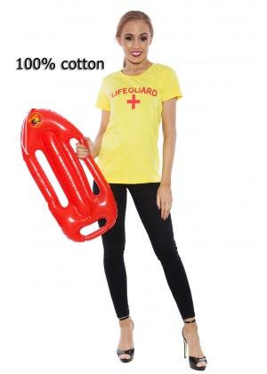 Ladies Baywatch Beach Lifeguard Uniform T-shirt Fancy Dress Costume Outfits