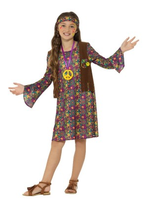 Kids Girl Hippie Costume Childs Hippy 1960s 1970s Retro Disco Fancy Dress Up Book Week