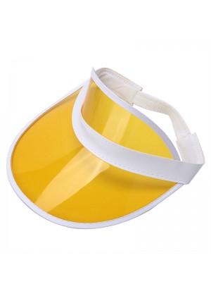 Yellow Unisex Sun Visor Cap Golf Fancy Dress Colour Stretch Poker 80's Rave Headband