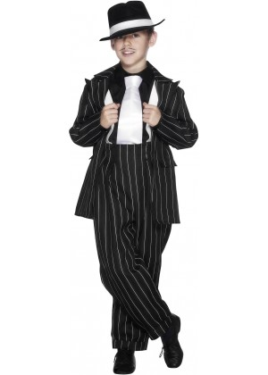 Kids Boys Gatsby Gangster Mob Mobster Costume Zoot Suit 20s Gangsta Pinstripe