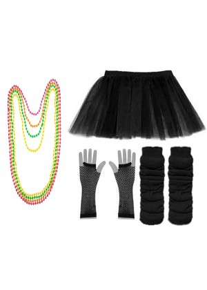 Black Coobey Ladies 80s Tutu Skirt Fishnet Gloves Leg Warmers Necklace Dancing Costume Accessory Set