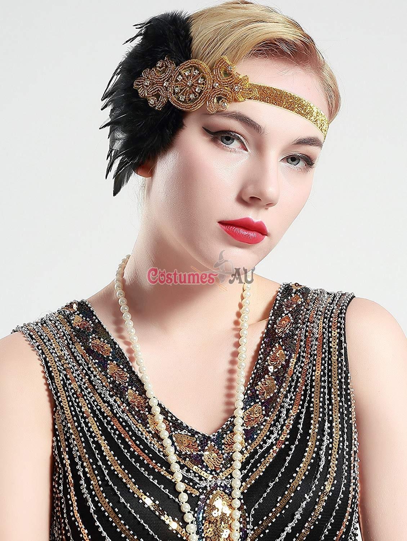 1920s headband black feather vintage bridal great gatsby. Black Bedroom Furniture Sets. Home Design Ideas