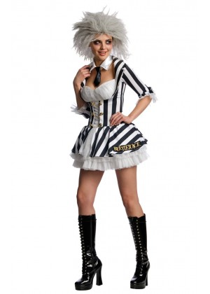 Mrs Beetlejuice Outfit Fancy Dress Party Dress Halloween Licensed Costume
