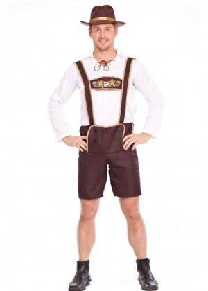 Mens Lederhosen Oktoberfest embroidery Costume With Hat