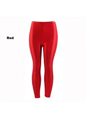 Red 80s Shiny Neon Costume Leggings Stretch Fluro Metallic Pants Gym Yoga Dance