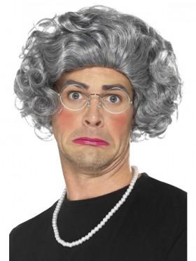 Granny Old Lady Grandma Grey Hair Wig Grandmother Wig Pearls Glasses Costume Kit Costume Accessory