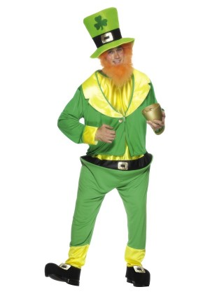 Mens Lucky Irish Green Leprechaun Costume St Patricks Day Halloween Party Outfit Oktoberfest Men